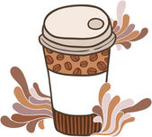 Cute cartoon doodle coffee cup — Stock Vector
