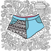 Cute cartoon doodle hipster shorts. — Stock Vector