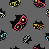 Modèle sans couture avec chat en lunettes de hipster — Vecteur