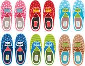 Conjunto de sapatos desportivos hipster bonito dos desenhos animados — Vetor de Stock