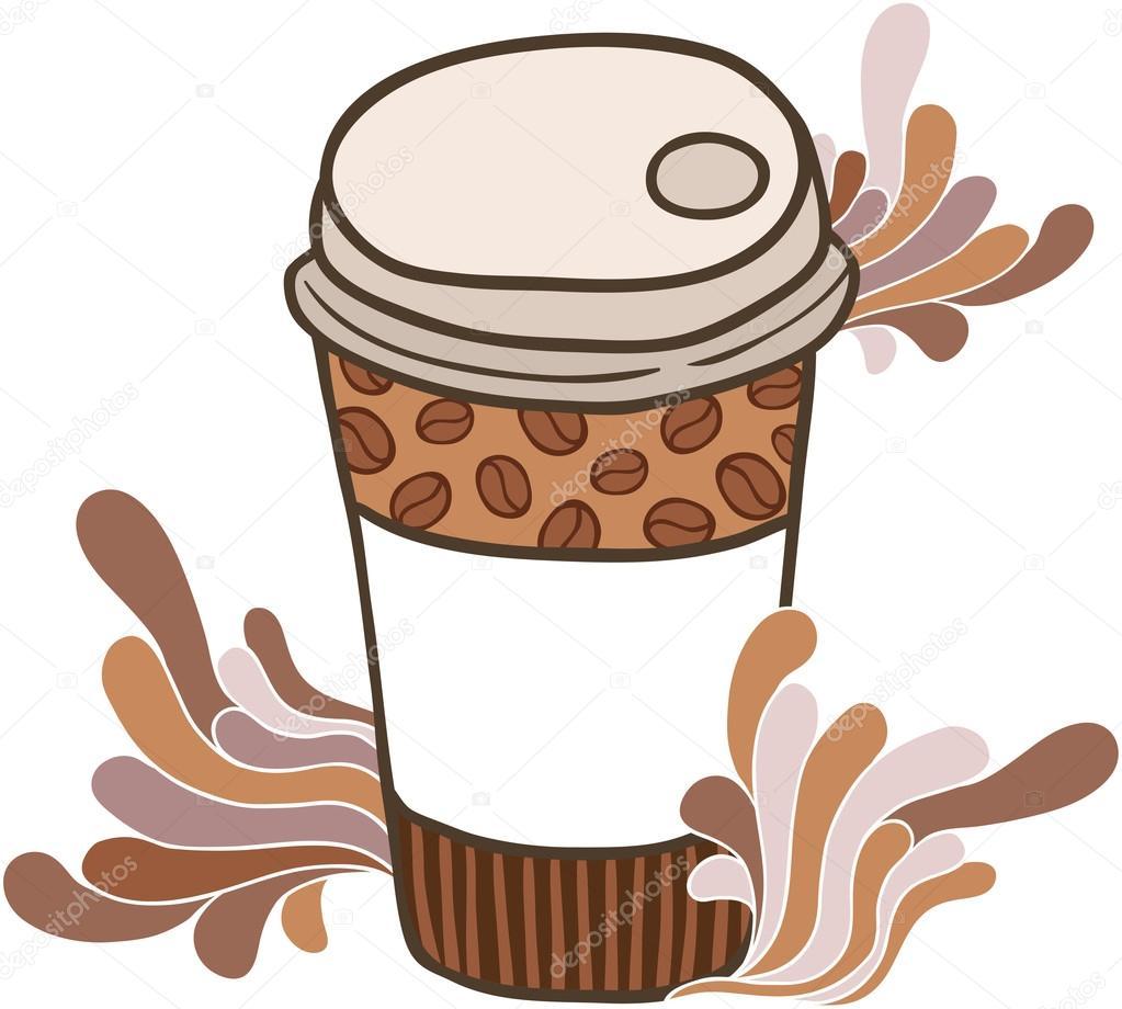 可爱的手绘制的卡通涂鸦咖啡纸杯