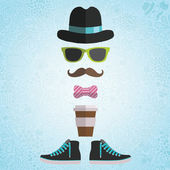 Hipster man with hat, glasses, bow, coffee — Stock Vector