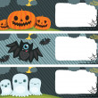 Happy Halloween card set with pumpkin, bat, ghost. — Stock Vector #32463723