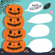 Halloween. Pumpkins with bubble speech — Stock Vector