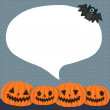 Cute funny Halloween pumpkins with bubble speech — Stock Vector