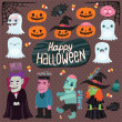 Stock Vector: Halloween set - witch, dracula, monster, zombie