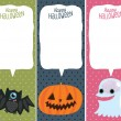 Halloween card set with pumpkin, bat, ghost. — Stock Vector
