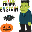 Halloween character Frankenstein with. — Stock Vector