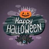 Happy Halloween sign with pumpkin, bat, web. — Stock Vector