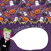 Happy Halloween invitation with Dracula. — Stock Vector
