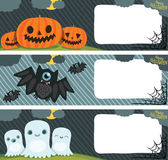 Happy Halloween card set with pumpkin, bat, ghost. — Stock Vector