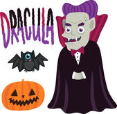 Halloween Dracula character with pumpkin and bat. — Stock Vector