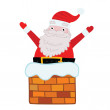Santa Claus stuck in the Chimney. — Stock Vector