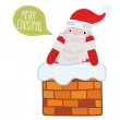 Santa Claus stuck in the Chimney — Stock Vector