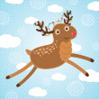 Merry Christmas greeting card with deer. — Stock Vector