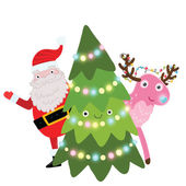Christmas tree with Santa Claus and deer — Stock Vector