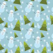 冬天树 ans 雪人无缝模式. — 图库矢量图片