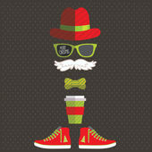 Hipster Santa Claus with hat, mustache, glasses, tea, sneakers. — Stock Vector