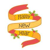 Happy new year hand drawn ribbon with mistletoe — Stock Vector