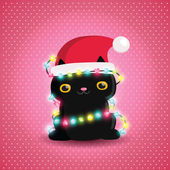 Christmas black cat with garland and santa hat — Stock Vector