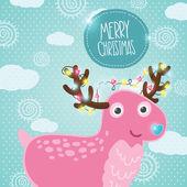 Cute cartoon Christmas deer — Stock Vector