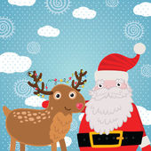 Christmas greeting card with deer and Santa Claus. — Stock Vector