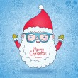 Cute cartoon Santa Claus in hipster glasses on doodle background — Stock Vector