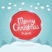 Cartão de natal. fundo de férias com distintivo — Vetorial Stock