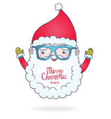 Cute cartoon Santa Claus with hipster glasses — Cтоковый вектор