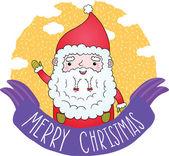 Cute Merry Christmas ribbon with Santa Claus — Stock Vector