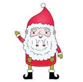 Cute cartoon Santa Claus with pigtail — Stock Vector