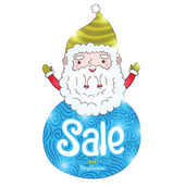 Santa Claus and Christmas sale badge — Stock Vector