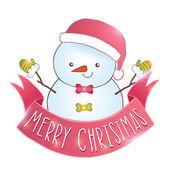 Cute cartoon snowman with Christmas ribbon — Stock Vector
