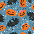 Halloween pumpkin and bat seamless pattern — Stock Vector
