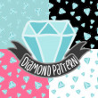 Cartoon doodle diamond seamless pattern. — Imagen vectorial