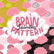 Cartoon doodle brain seamless pattern.  — Stock Vector