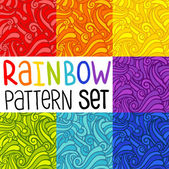 Vector pattern set. Rainbow background set. — Stock Vector