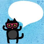 Söta tecknade katt med bubbla tal på doodle mönster — Stockvektor