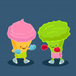 Fight of ice cream and broccoli — Imagen vectorial