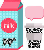 Milk pack and paper cup — Stok Vektör