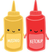 Mustard and ketchup — Stock Vector
