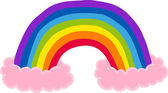 Rainbow and clouds illustration — Stock Vector