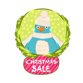 Cute Christmas bird Sale label — Stock Vector
