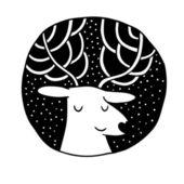Christmas deer Sale label — Stock Vector