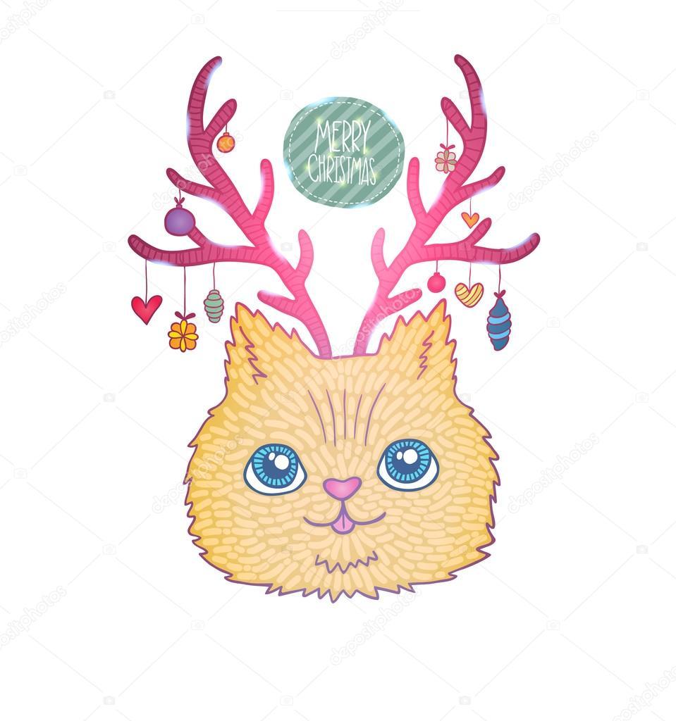 可爱回力卡通圣诞节用鹿角的猫