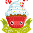Stock Vector: christmas cupcake