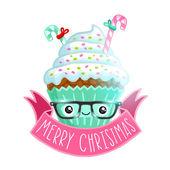 Christmas cupcake — Cтоковый вектор