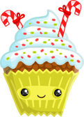 Smiling cupcake — Stock Vector