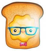 Funny cartoon Toasted bread for breakfast — Stock Vector