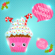 Cute Christmas cupcake card — Stock Vector